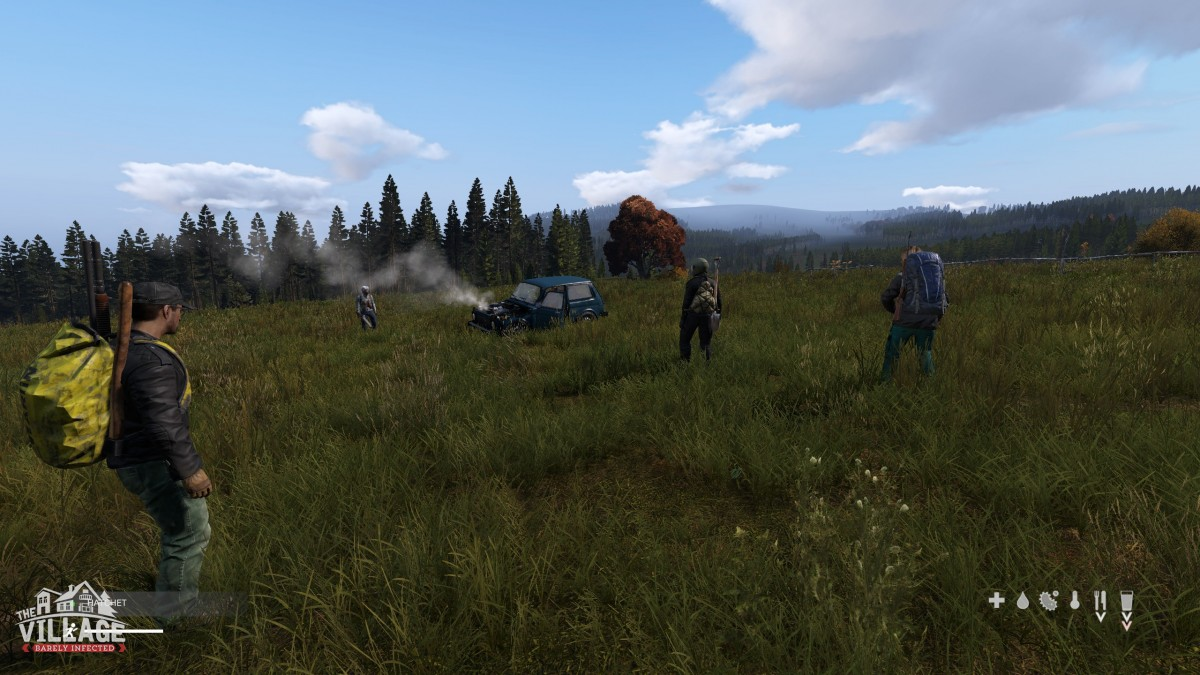 Villagers trying to fix a car. It didn't go very far. :(
