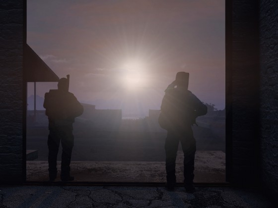 Guards looking at the sunrise.