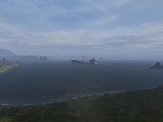 Sunken boat on Skalisty